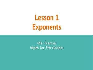 Picture of Lesson 1 - Exponents